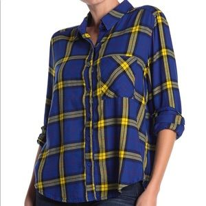 Abound Plaid Button Down Shirt Blue Yellow Size XS